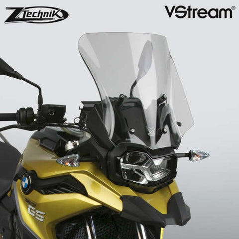 The BMW F750GS Windscreen V-stream Windshield ZTechnik Z2382 Dark Tint Sport Touring Screen 2019 Up is a generously-sized sport-touring screen, and will give most F750GS riders excellent wind protection while maintaining the bike's adventurous appearance. The Sport screen simply offers V-Stream function and maximum impact or scratch protection for that added piece of mind, whilst maintaining a close-to-original size and sporty look.