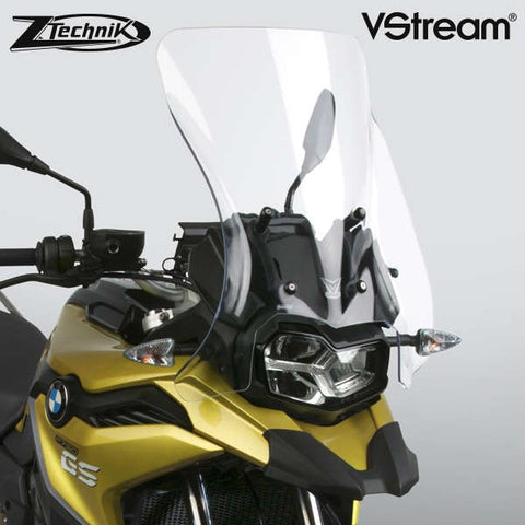The BMW F750GS Windscreen V-stream Windshield ZTechnik Z2383 Clear Touring Screen 2019 Up is a generously-sized sport-touring screen, and will give most F750GS riders excellent wind protection while maintaining the bike's adventurous appearance. The Sport screen simply offers V-Stream function and maximum impact or scratch protection for that added piece of mind, whilst maintaining a close-to-original size and sporty look.