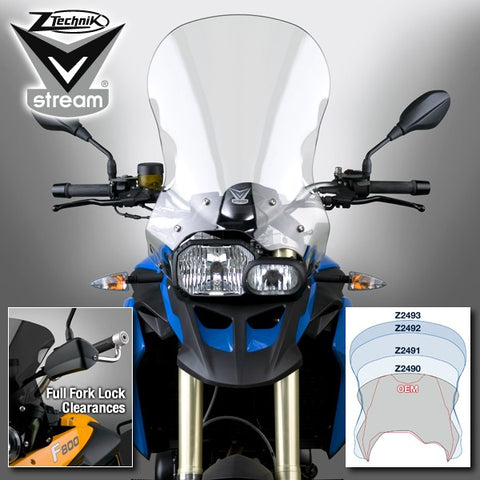 The BMW F800GS F650GS Twin Windscreen V-stream Windshield ZTechnik Z2493 Clear Extra Tall Touring Screen take the F800GS/F650GS Twin to a whole new level of long distance touring performance. VStream windshields are designed with an unprecedented area of protection and an outstanding level of durability and optical clarity that is only available through the use of Quantum coated Lexan polycarbonate.