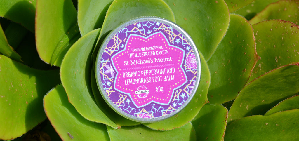 Bloom Remedies Organic Peppermint & Lemon Grass Foot Balm for the Illustrated Garden Range