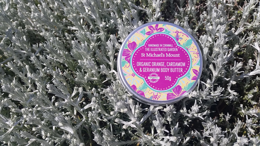 Bloom Remedies Organic Orange, Cardamom & Geranium Body Butter from the Illustrated Garden Range