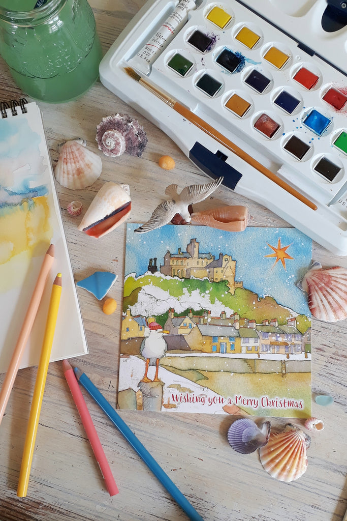 Emma Ball St Michael's Mount Christmas Cards Pack of 10