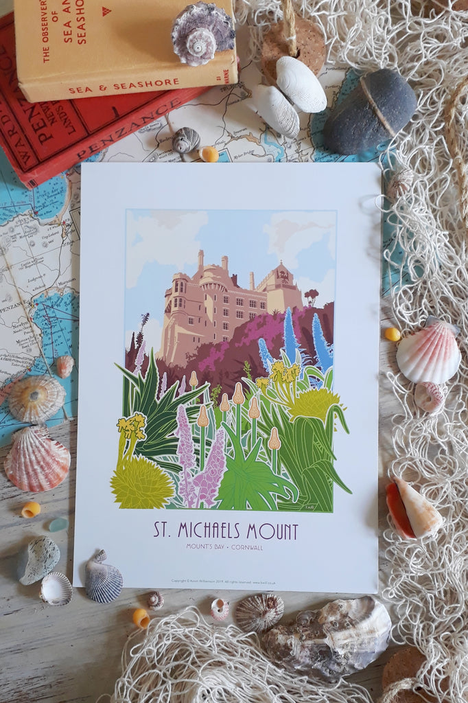 Kevin Williamson print, 'St Michael's Mount Castle Gardens' - Medium