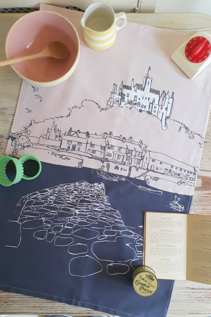 St Michael's Mount Architectural Tea Towel - Pink