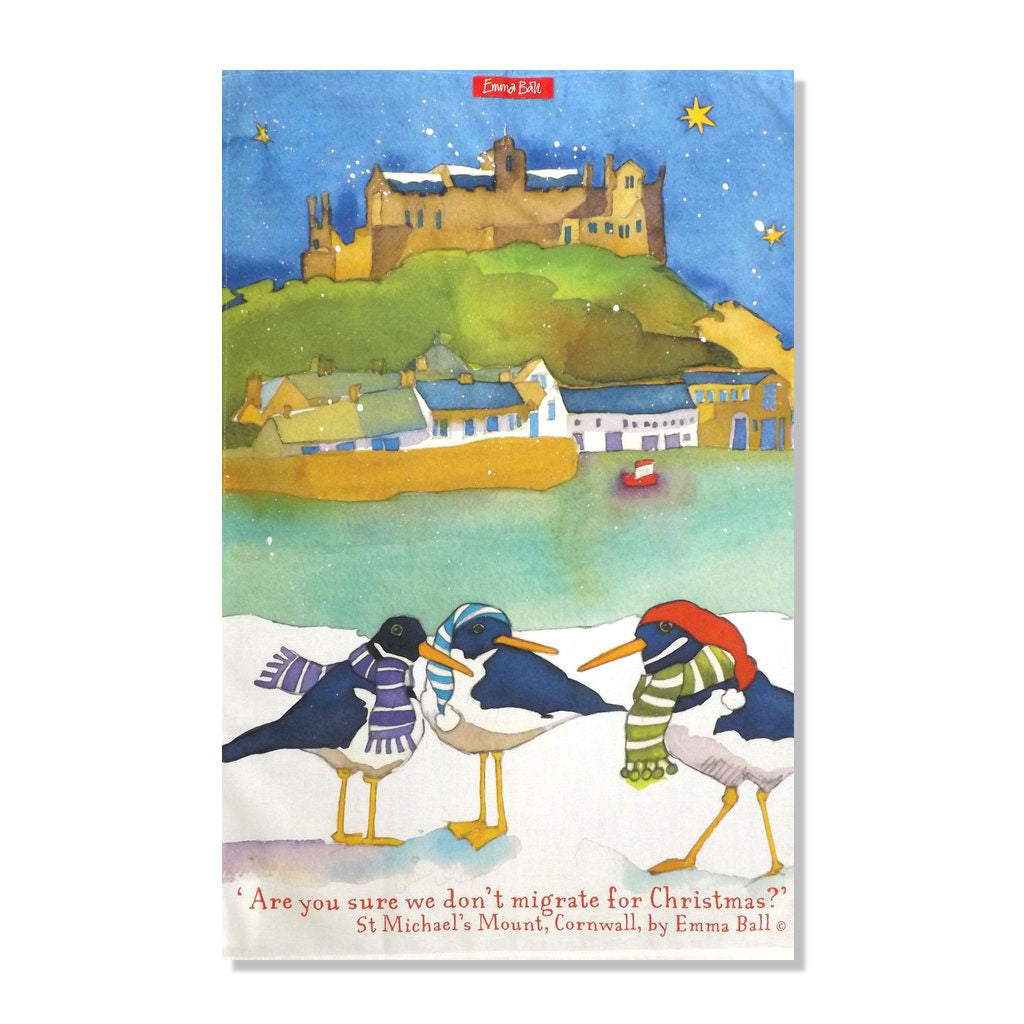Emma Ball - St Michael's Mount at Christmas Tea Towel