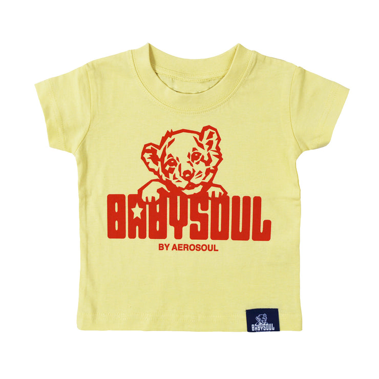 Baby Soul Cub Crew Neck TeeShirt ( Pale Yellow / Red )