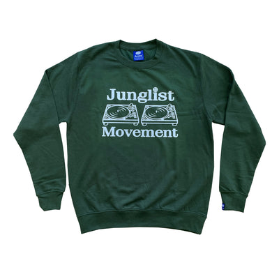 Junglist Movement -  Heavyweight Sweatshirt Forest With White Print