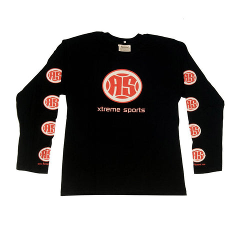 A.S. Xtreme Long Sleeve T-Shirt - Red Logo (Black)