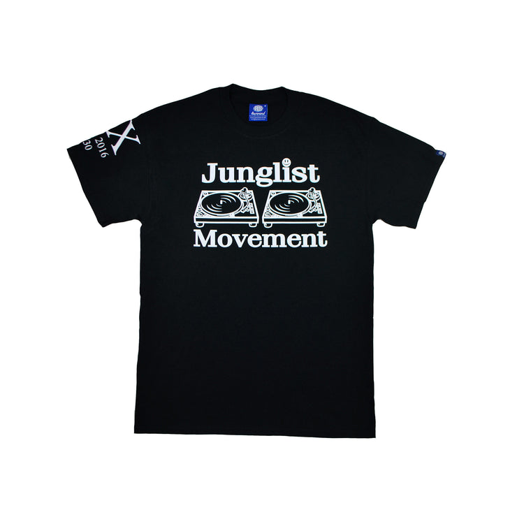 Junglist Movement Exclusive 20 Year Anniversary Tee. Glow In The Dark Print