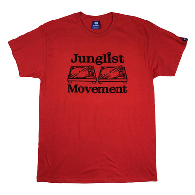 Junglist Movement T-shirt (Red with Black Print)