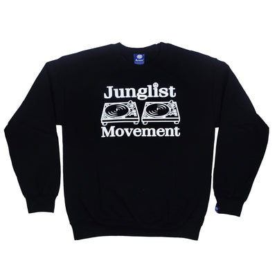 Junglist Movement -  Heavyweight Sweatshirt Black With White Print
