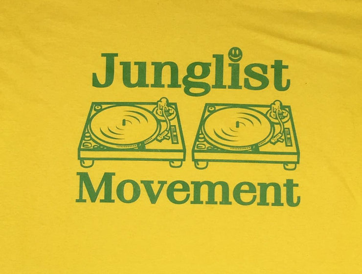 Junglist Movement T-shirt (Yellow with Green Print)