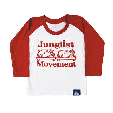 Baby Soul Junglist Movement BaseBall Long Sleeve Teeshirt (White/Red)
