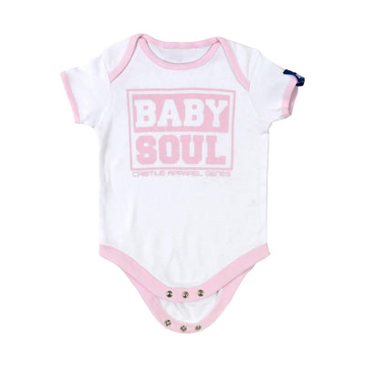 Baby Block Contrast Baby Vest (White/Pale Pink)