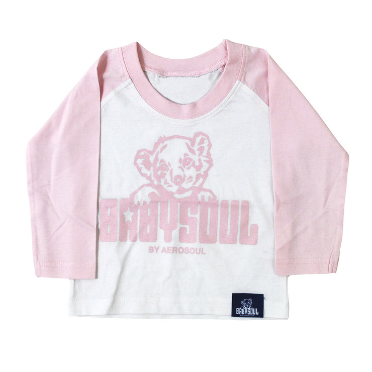 Baby Soul Cub BaseBall Long Sleeve Teeshirt (Pale Pink/White)