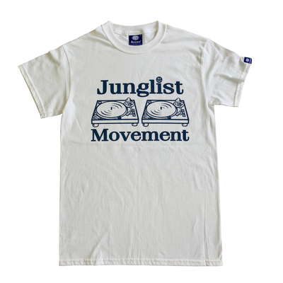 Junglist Movement T-shirt (White with Blue Print)