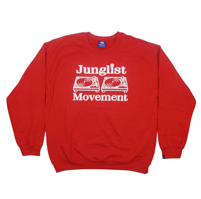 Junglist Movement - Heavyweight Sweatshirt Red With White Print
