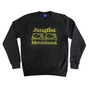 Junglist Movement -  Heavyweight Sweatshirt Black With Yellow Print