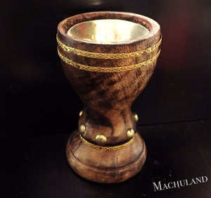 木制杯形黃銅爐 Wooden Brass Incense Burner - Machuland hk