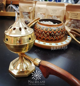 黃銅木柄爐 Brass Incense Burner with Wooden handle - Machuland hk