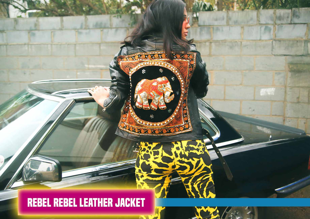 Rebel Rebel Elephant Embroidered Leather Jacket
