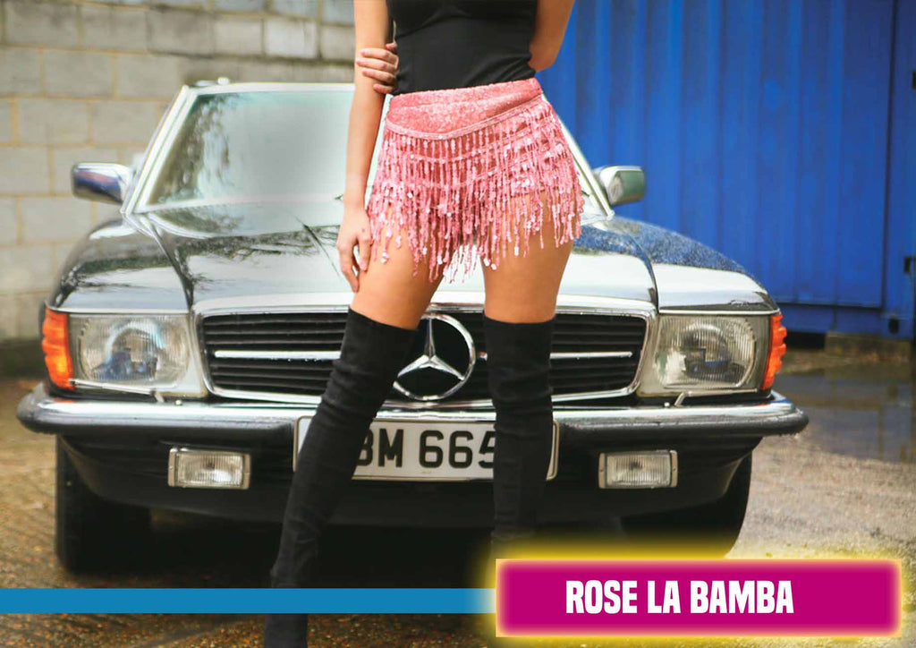 Rose Pink La Bamba Sequin Tassle Shorts
