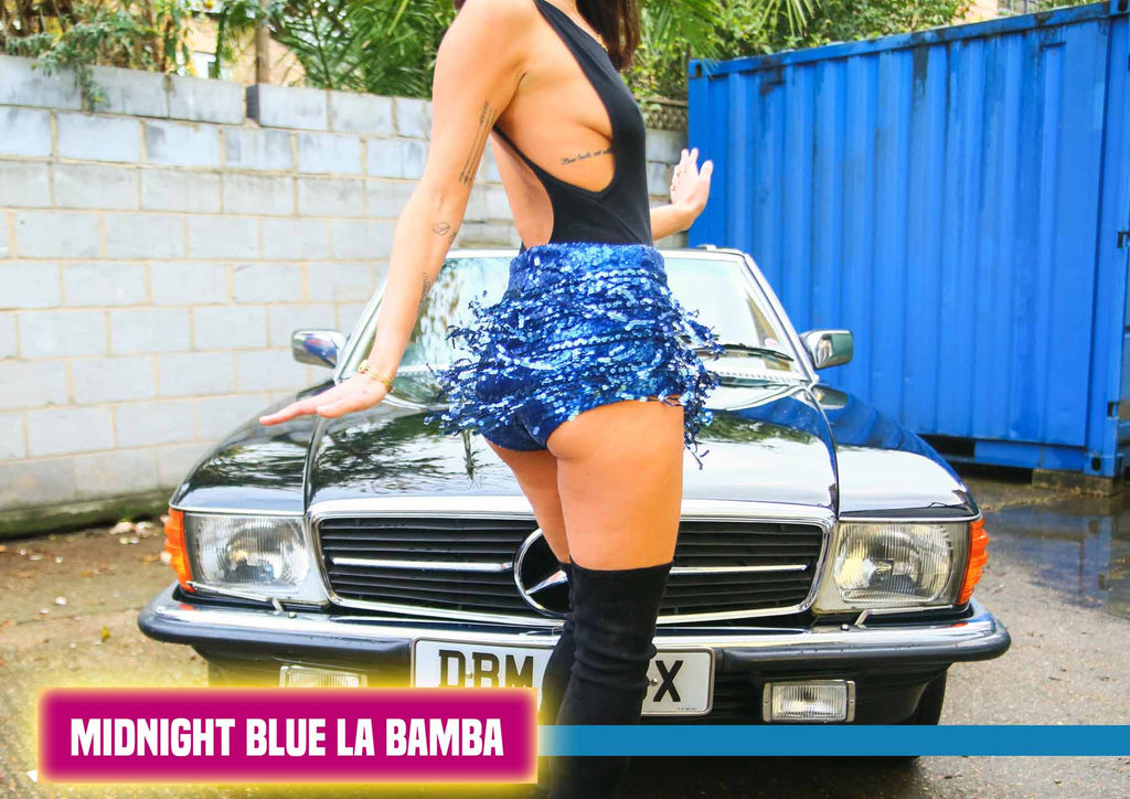 Midnight Blue Sequin La Bamba Tassle Shorts