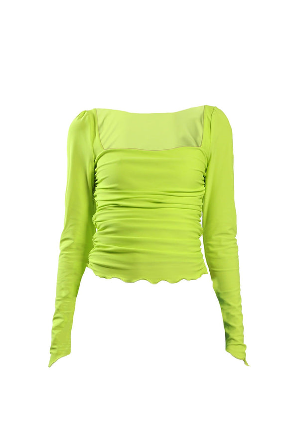 Cruel Intentions Ruched Lime Green Top - Elsie & Fred