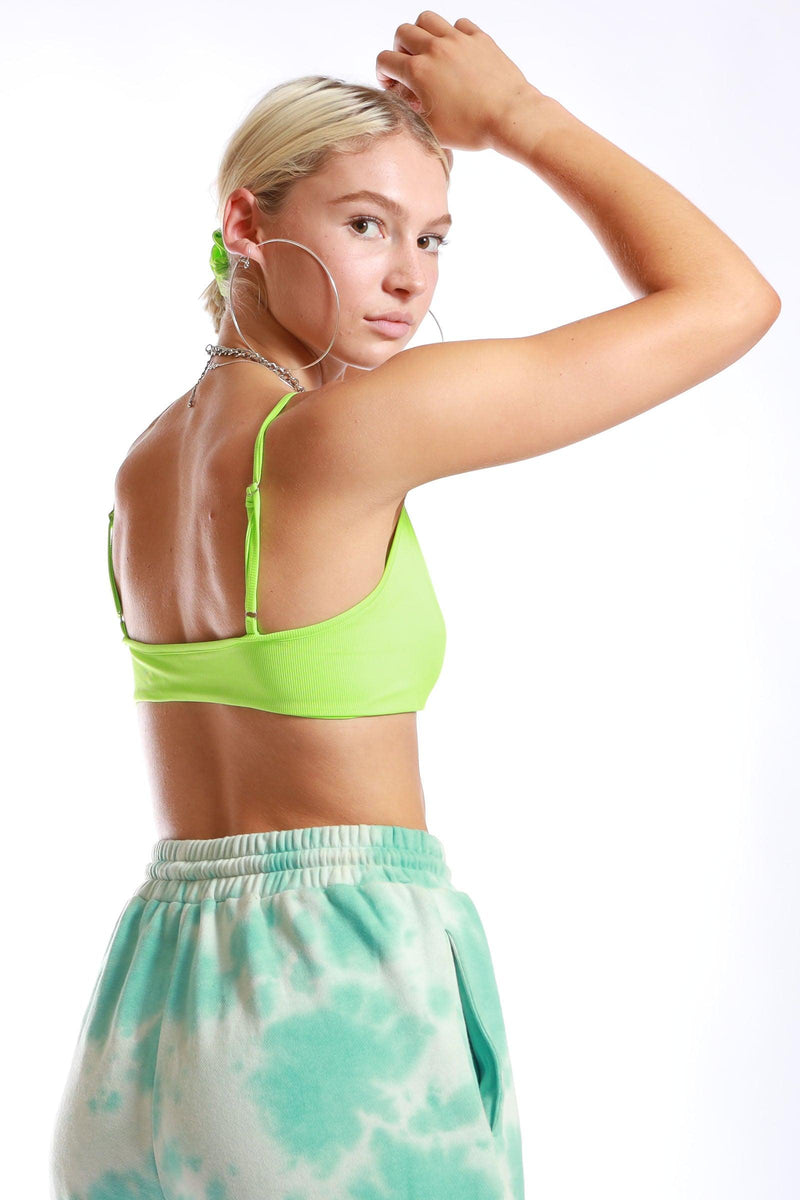 Keepin' it Simple Ribbed Neon Lime Crop Top - Elsie & Fred
