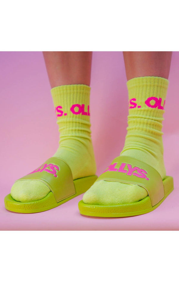 OLLYS. Lime Cushioned Crew Socks