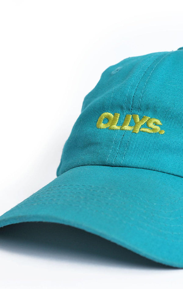 OLLYS. Teal Cotton Cap with Lime Logo