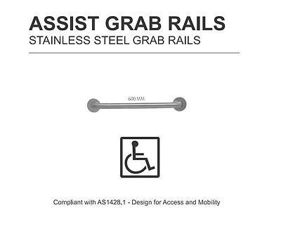 NEW ASSIST GEMINI 600 MM DISABLED COMMERCIAL STAINLESS STEEL GRAB RAIL