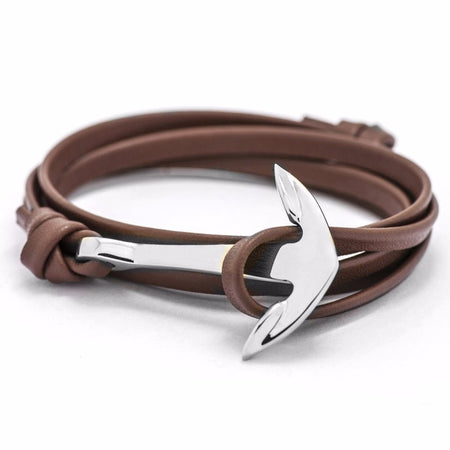 Ashley Anchor Bracelet - Color Brown Silver