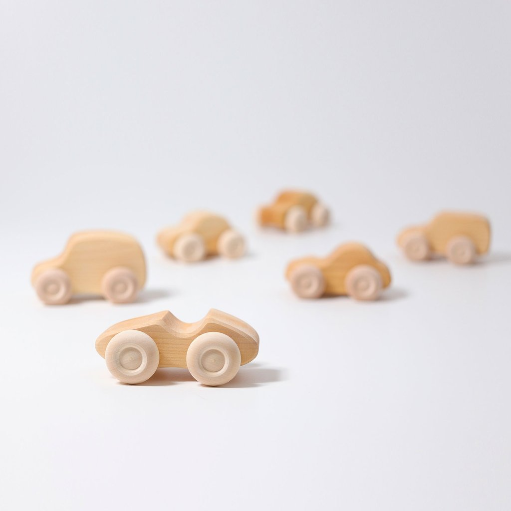 Wooden Natural Cars - Set Of 6