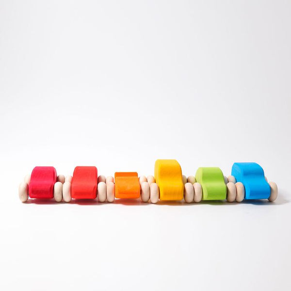 Wooden Coloured Car Set 6