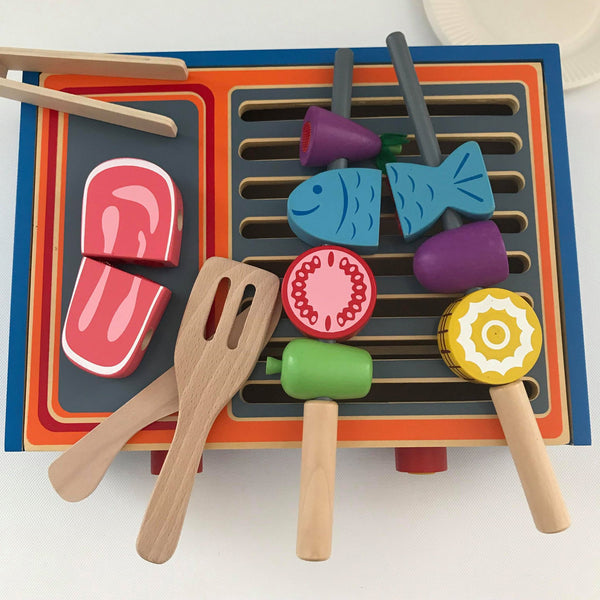 Wooden BBQ Gril Set