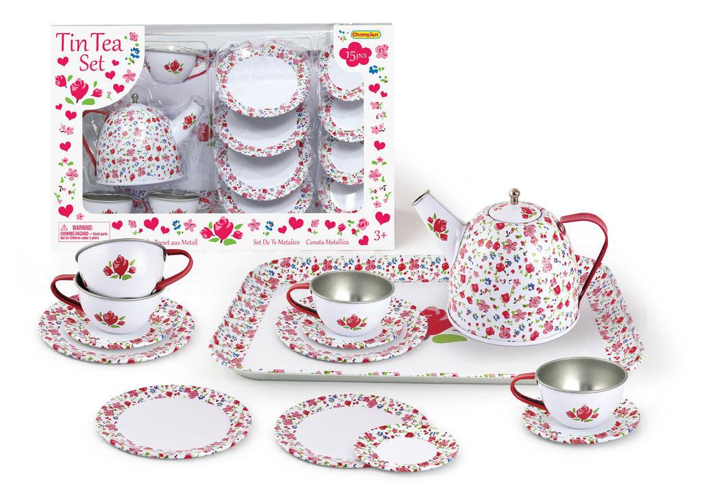 Tin Tea Set - White Floral
