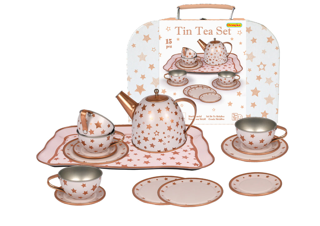 Tin Tea Set - Rose Gold Star