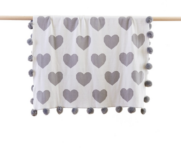 Heart Grey Baby Blanket