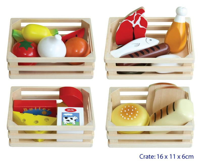 Wooden Food Set In Crates