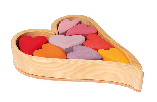 Wooden Heart Blocks - Red