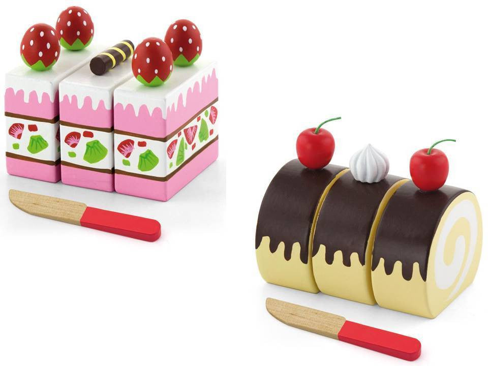 Wooden Swiss Roll & Strawberry Cake
