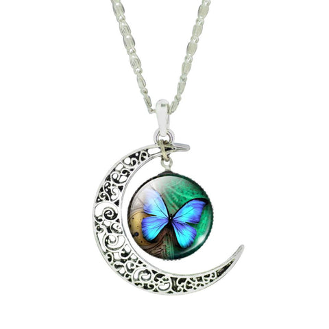Crescent Moon Turquoise Butterfly Pendant Necklace