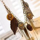 Vintage Feather Coin Necklace