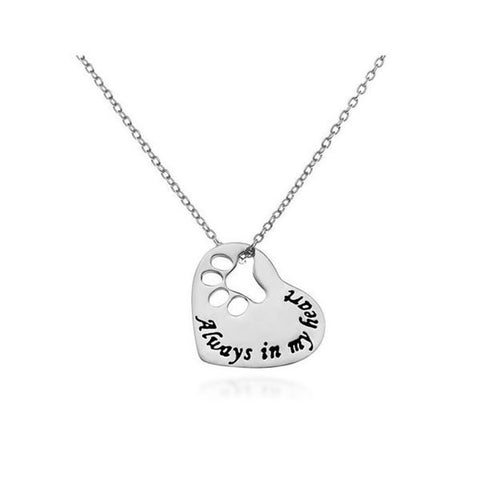 Dog Paw Silver Heart Necklace
