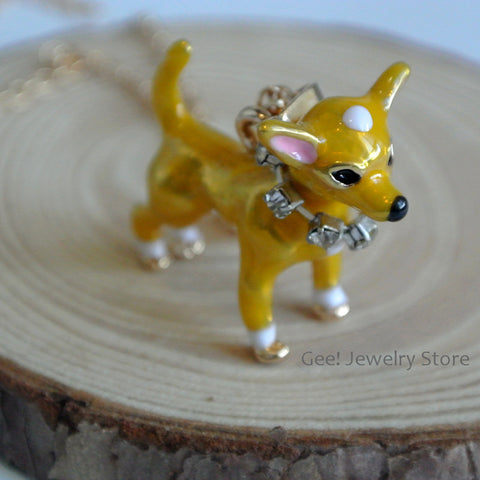 Yellow Dog Pendant Necklaces