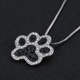Black White Silver Dog Paw Rhinestone Necklace