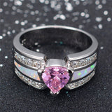 Elegant White Gold Opal Ring