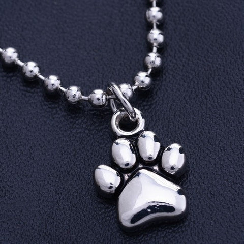 Silver Dog Foot Print Necklace