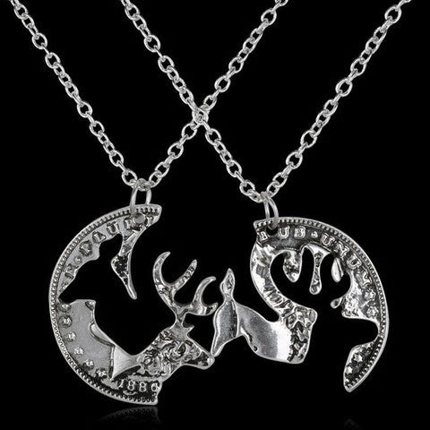 Vintage Deer Couples Necklace